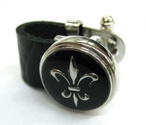 Butoni Leather Black & Silver1