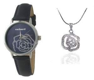 Cadou Blue Roses Ceas Cacharel & Colier Roses Borealy- personalizabil