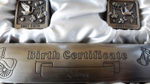 Cadou Botez Argintat pentru Certificat, Prima Buclă si Primul Dinţişor3