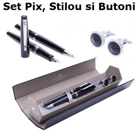 Cadou Business Black & Silver Stilou, Pix si Butoni0