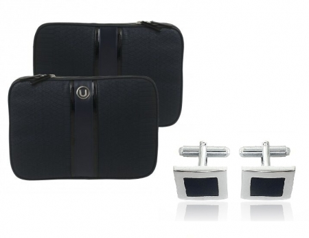 Cadou Business Geanta Laptop Ungaro Pitone Blue & Butoni Noir by Borealy