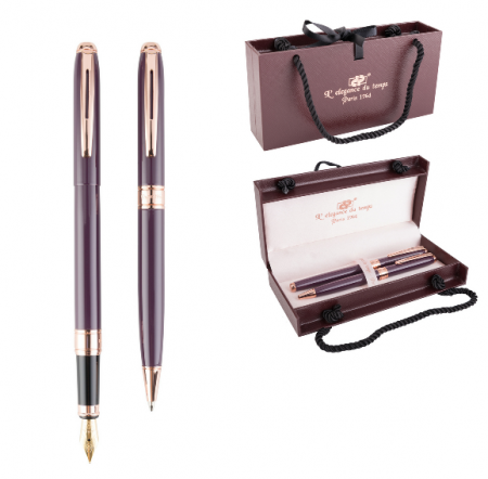Cadou Business Woman Dark Purple Pix si Stilou Penita Placata Aur 18 K3