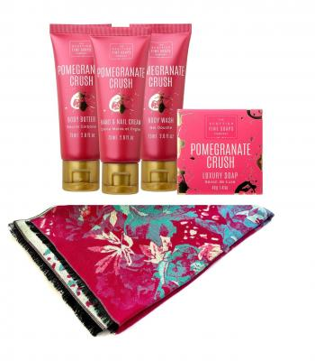Luxury Gift Eşarfă Casmir & Cosmetice Pomegranate Crush Scottish Fine0