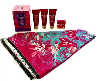 Luxury Gift Eşarfă Casmir & Cosmetice Pomegranate Crush Scottish Fine1
