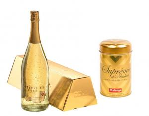 Cadou Gold Luxury Şampanie - cu foiţă de aur 23 karate & Gold Coffee - personalizabil