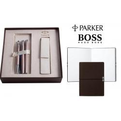Set Cadou Parker Writing Set for Women si Note Pad Burgundy Hugo Boss0