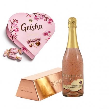 Cadou Rose Gold Luxury Şampanie - cu foiţă de aur 23 karate & Bomboane Geisha0