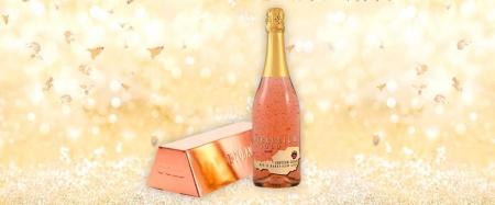 Cadou Rose Gold Luxury Şampanie - cu foiţă de aur 23 karate & Bomboane Geisha5