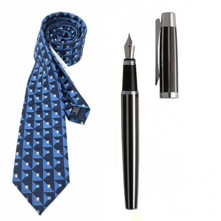 Cadou Style Blue Cravata Matase si Stilou Ungaro Desk0