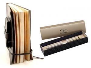 Cadou Parker & Black Leather Notebook piele naturala1