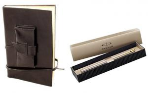 Cadou Parker & Black Leather Notebook piele naturala0