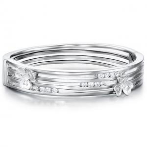 Brăţara Stylish Flower Simulated Diamond Bangle0