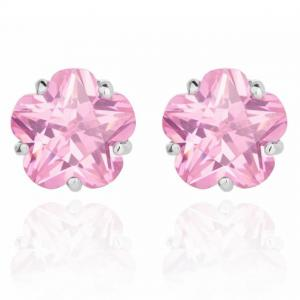 Cercei Borealy Sapphire Studs Flower Cut Pink