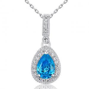 Colier Mademoiselle Blue Topaz 2 Carate Diamonds Argint 9250