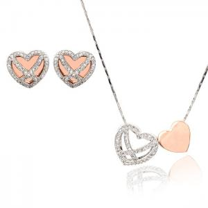 Diamond Heart White & Pink Set Medalion s Cercei y Borealy0