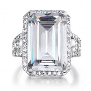 Inel Borealy Argint 925 Simulated Diamond 8.5 Carat Emerald Cut Anniversary Marimea 80