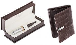 Brown Cardholder and Pen by Jos Von Arx0