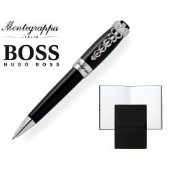 Set Caduceus Black Ballpoint Pen by Montegrappa si Note Pad Black Hugo Boss0