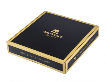 SET DE SAH SCUTIERI, PERIOADA GRECO-ROMANA, PIESE AURIU/BRONZ, TABLA BORDO 44 X 44CM by Manopoulos, Made in Greece6