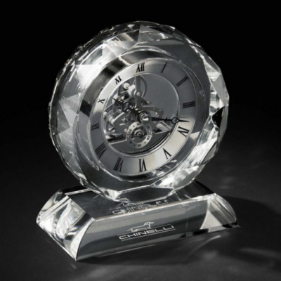 Ceas Crystal Round with Base by Chinelli - Made in Italy