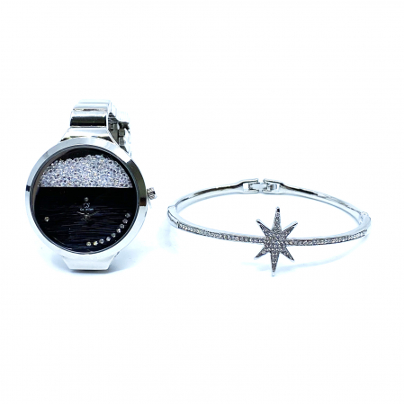 Set Ceas Crystal Exposed Time & Bratara Star3