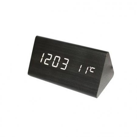Ceas lemn personalizabil Borealy pentru birou cu afisaj LED