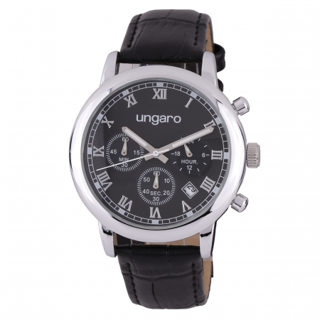 Ceas Ungaro - Chronograph Primo Leather Black & Butoni Elegance by Borealy0