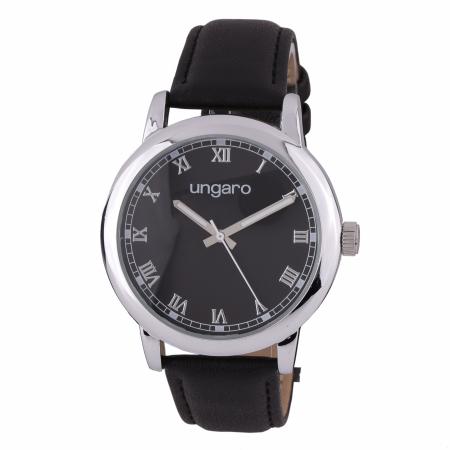 Ceas Ungaro Primo Leather Black & Butoni Borealy Elegant Round Silver [0]
