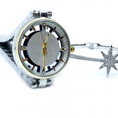 Set Ceas Lady Skeleton Luxury Gold & Bratara Star [3]