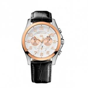 Ceas Tommy Hilfiger Black Leather & Rose Gold0