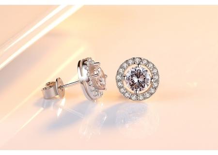 Cercei Argint Borealy Diamonds Halo One4