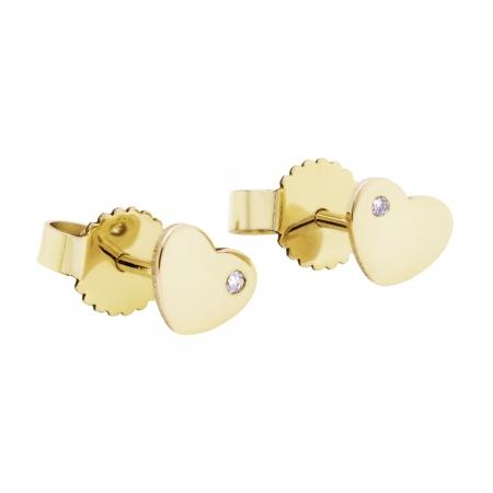 Cercei Aur 14 Kt & Diamant Natural Heart 8 mm
