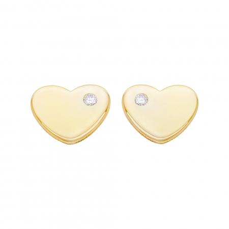 Cercei Aur 14 Kt & Diamant Natural Mini Heart 6 mm1