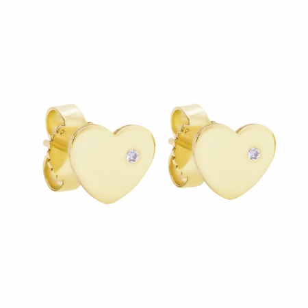 Cercei Aur 14 Kt & Diamant Natural Mini Heart 6 mm