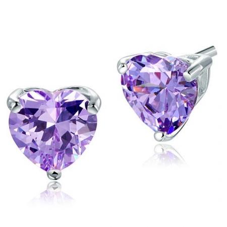 Cercei Borealy Argint 925 Simulated Diamond Purple Heart [1]