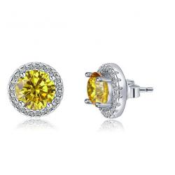 Cercei Borealy Argint Diamonds Halo One Two Yellow1