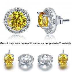 Cercei Borealy Argint Diamonds Halo One Two Yellow