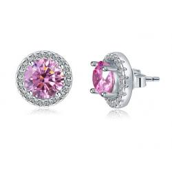 Cercei Borealy Argint Diamonds Halo One & Two Pink1