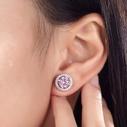 Cercei 4 in 1 perechi White & Pink Borealy Argint Halo One2