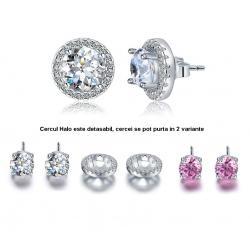 Cercei 4 in 1 perechi White & Pink Borealy Argint Halo One0