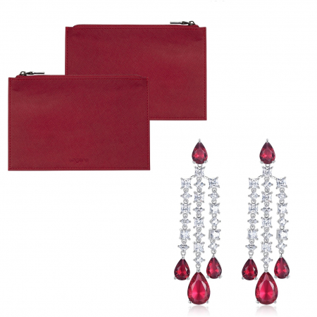 Clutch Ungaro Small Red & Cercei Chandelier Long Red Crystal0