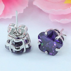 Cercei Borealy Sapphire Studs Flower Cut Purple2