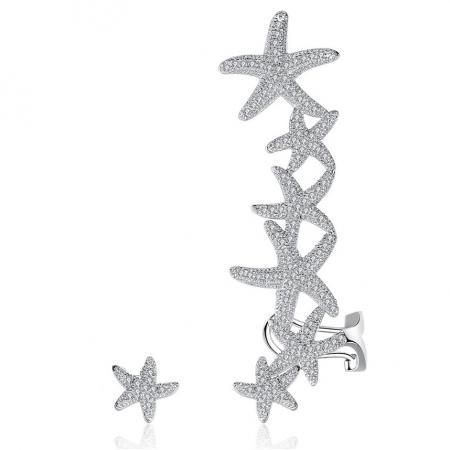 Cercei Ear Cuff Asimetrici Crystal Sea Stars0