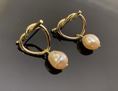Cercei Fashion Pearl by Borealy, placati cu aur galben2