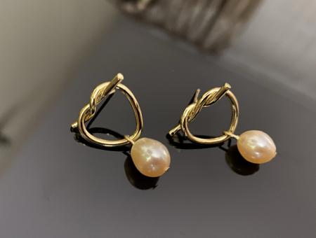 Cercei Fashion Pearl by Borealy, placati cu aur galben1