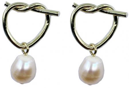 Cercei Fashion Pearl by Borealy, placati cu aur galben0