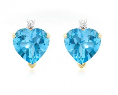 Cercei Topaz Natural & Diamante Naturale din Aur 9 carate0