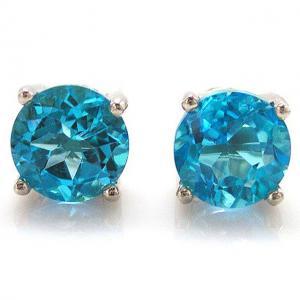 Cercei Pietre Preţioase Naturale Topaz Blue Studs 4 Carate0