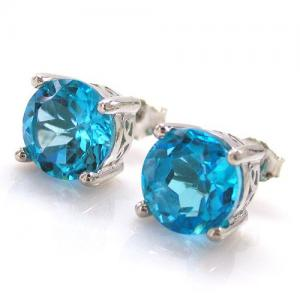 Cercei Pietre Preţioase Naturale Topaz Blue Studs 4 Carate4
