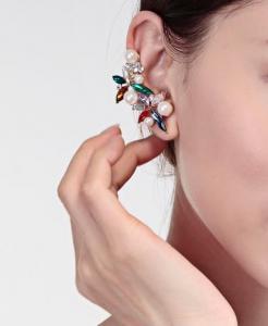 Cercei Borealy Crystal Pearl Ear Cuff Asimetrici Colours1